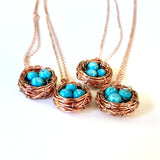 four examples Bird's Nest Pendant with Turquoise Eggs Handmade Copper Wire Wrapped necklaces