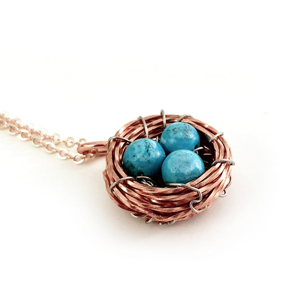 Bird's Nest Pendant with Genuine Turquoise Eggs, Handmade Copper Wire Wrapped