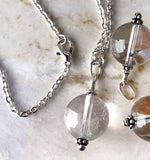 Clasp view Handmade Silver Gemstone Quartz Crystal Ball, Crystal Healing Stones, Natural Healing Stones