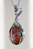 Rust, red, orange & silver handmade Wire Wrapped Pendant