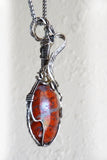 Side rust red orange & silver handmade Wire Wrap Pendant