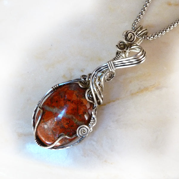 red orange Jasper handmade Wire Wrapped Pendant