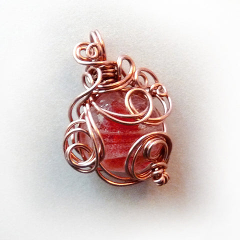 cherry red pink copper wire wrapping pendant necklace