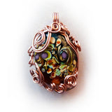 woodland bead w copper wire wrapping pendant necklace