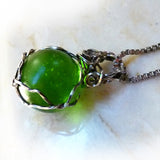 Handmade boho silver wire wrapped green marble pendant