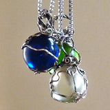 Handmade boho wire wrapped green, blue,clear marble pendant