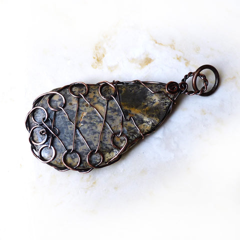 Petrified Wood & Copper OOAK Wire Wrapped Pendant
