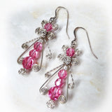 Pink Ice Swarovski crystal & Sterling silver dangle Earrings
