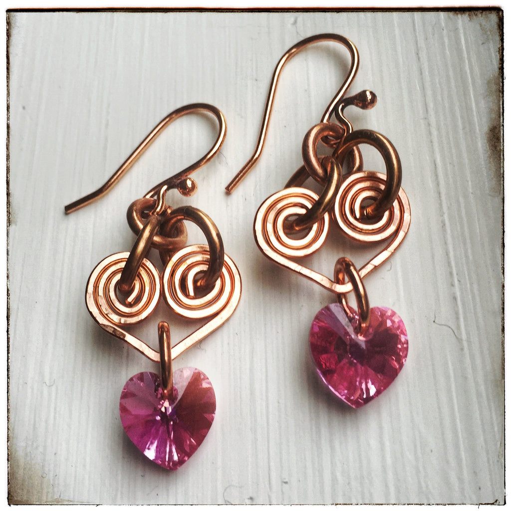 Pink Hearts - Swarovski Crystal & Copper Wire Earrings – Rhonda ...