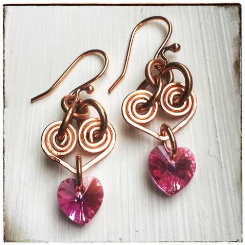 Pink & copper handmade wire dangle OOAK heart earrings