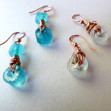 green blue clear recycled glass wire wrapped gift earrings