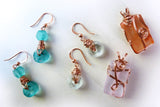 recycled jewelry from bottle glass & copper wire wrapped