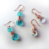 pairs of handmade recycled glass bead wire wrap earrings