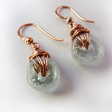 copper handmade recycled glass bead wire wrap earrings