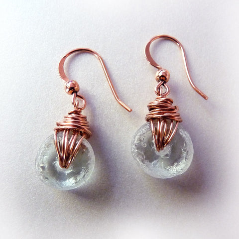 handmade recycled glass bead wire wrapped clear earrings