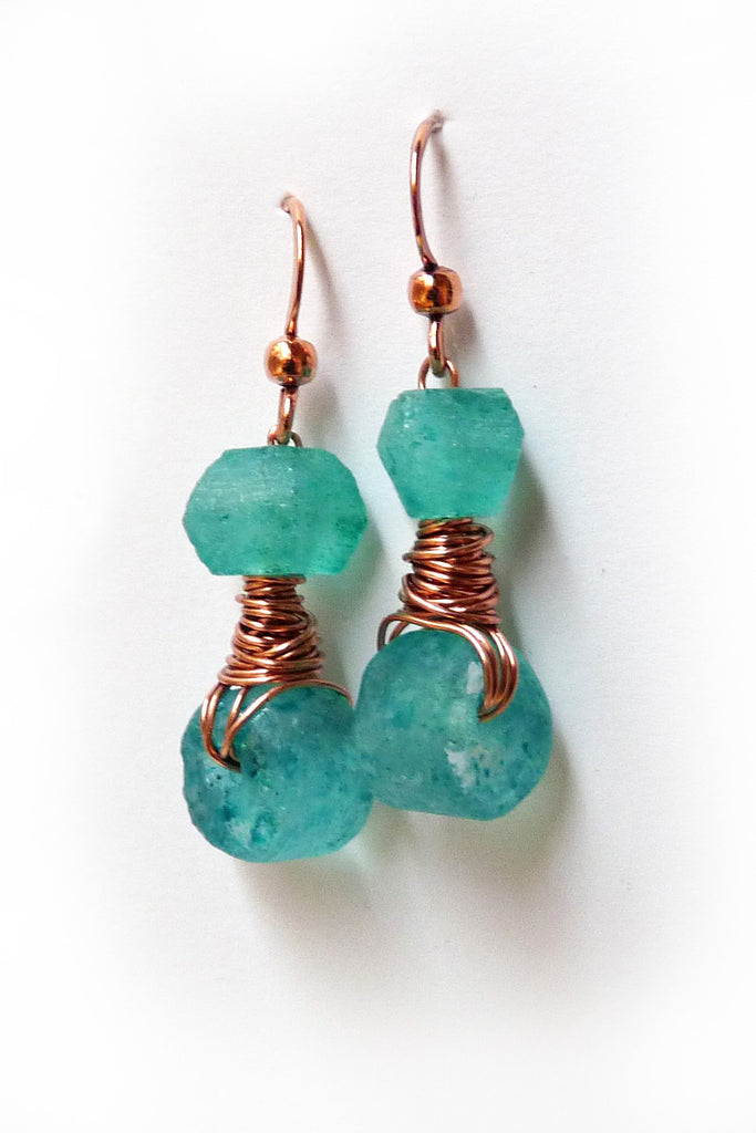 Bright Teal Recycled Glass Copper Wire Wrapped Earrings
