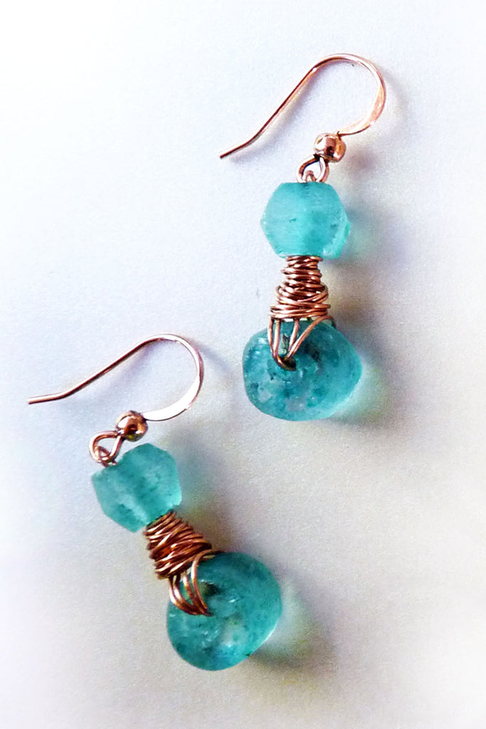 Bright Teal Recycled Glass & Copper Wire Wrapped Earrings – Rhonda ...