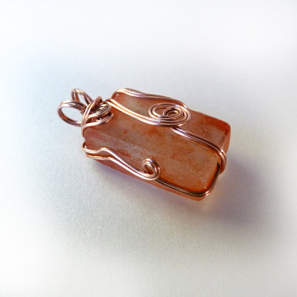 recycled orange bottle glass beautiful wire wrapped copper