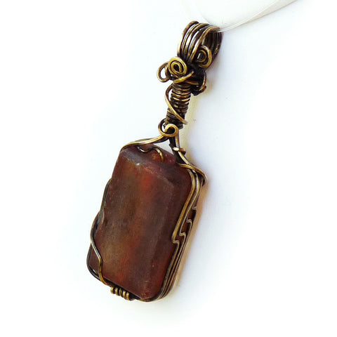 orange recycled glass and boho bronze wire wrap