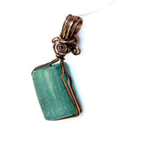 recycled green bottle glass wire wrapped in antique copper