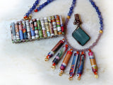 recycled jewelry made from bottle glass and reuse paper