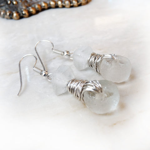 Custom Order - Dangle Drop Wire Wrapped Earrings - Frosted Clear or Your Choice Recycled Glass & Silver