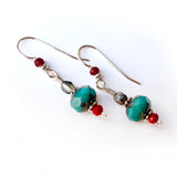 Christmas Red & Turquoise Green Sterling Silver Dangle Drop Earrings Gift, beaded