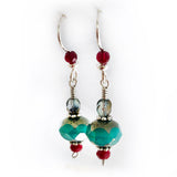 Christmas Red & Green Sterling Silver Dangle Drop Earrings Gift, beaded