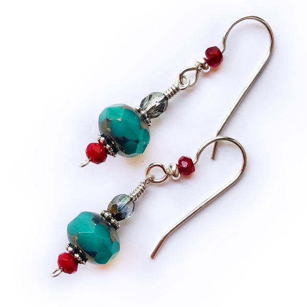 108d6a0b8 Christmas Green & Red .925 Sterling Silver Dangle Handmade Earrings –  Rhonda Chase Design