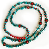 Genuine Turquoise, Christmas Green and Red, Beautiful Beaded Necklace