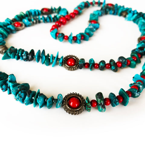 "Genuine Turquoise, Green and Red, Beautiful Beaded Necklace 40"" Long"