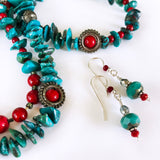 Matching Earrings and Genuine Turquoise, Green and Red, Christmas Beaded Long Necklace