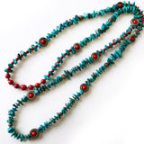 Southwest Genuine Turquoise, Green and Red, Christmas Beaded Long Necklace