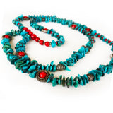 Genuine Turquoise, Green and Red, Christmas Beaded Long Necklace