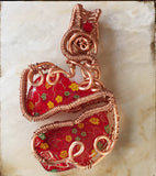 Red broken heart wire wrapped handmade pendant necklace
