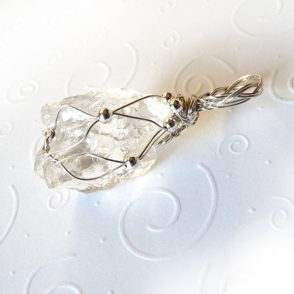 Rock crystal and sterling silver handmade gift necklace