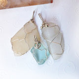 3 sea glass handmade wire pendants, clear, teal, aqua, tan