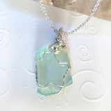 handmade wire wrapped green blue sea glass sterling silver