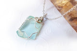 Sea Glass and Sterling WireWrapped Pendant - Frosted Aqua