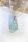 handmade green blue sea glass sterling silver pendant
