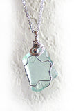 small handmade green blue sea glass sterling silver necklace