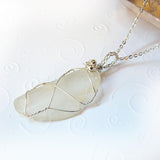 Sea glass handmade wire wrapped sterling silver necklace