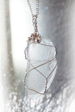 Clear sea glass handmade sterling silver pendant necklace