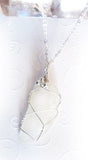 handmade wire wrapped real sea glass pendant women