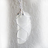 Clear sea glass handmade wire wrapped pendant necklace