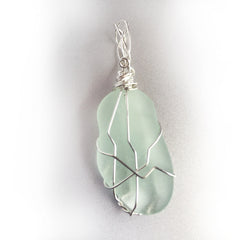 Wave Tumbled Light Green Sea Glass pendant necklace