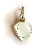 Genuine real Wave Tumbled Wire Wrapped Sea Glass jewelry