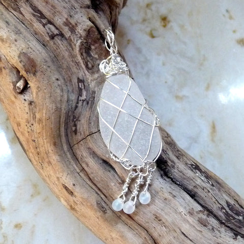 Sea Glass and Sterling Silver Beach Pendant Handmade