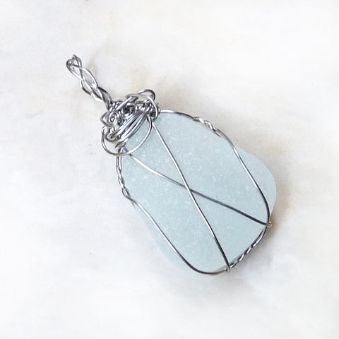 handmade boho wire wrapped white clear sea glass pendant