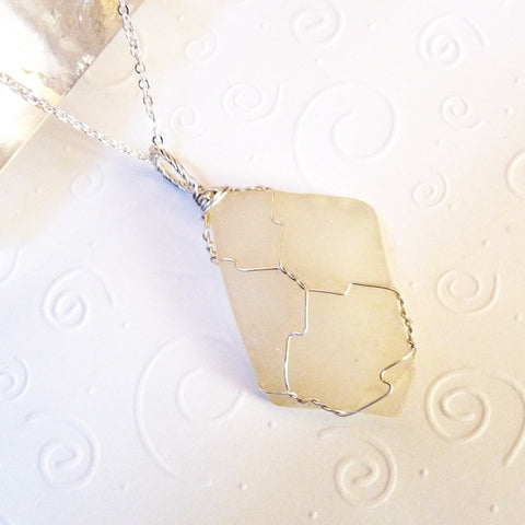 handmade pendant sterling silver &  off-white real sea glass